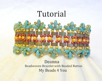 Beading Tutorials,Jewelry Bracelet Pattern, Beadweaving Tutorial,Beading Instructions,Seed Bead Tutorial,PDF Superduo Tutorial, Bead Pattern