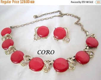 Red Necklace Earrings - Coro Signed - Lucite Moonglow Thermoset