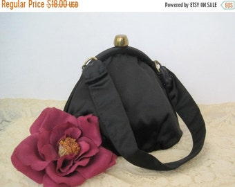 Black Satin Purse- Signed  Ronay - Evening Handbag