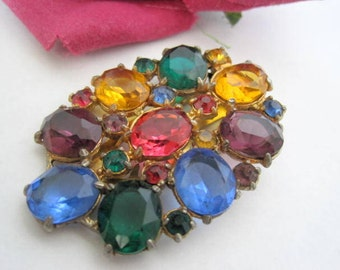 Art Deco Dress Clip-  Multicolor Rhinestone Pin - Vintage 30's - Necklace Pendant