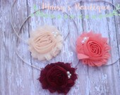 Set of 3- Burgundy, Coral and Pale Peach Set/ Shabby Flower Headband/ Newborn Headband/ Baby Headband/ Flower Girl/ Photo Prop