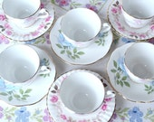 Set of 6 little tea cups / coffee cups / demitasses with mismatched saucers: pink and grey cups with blue and pink roses saucers
