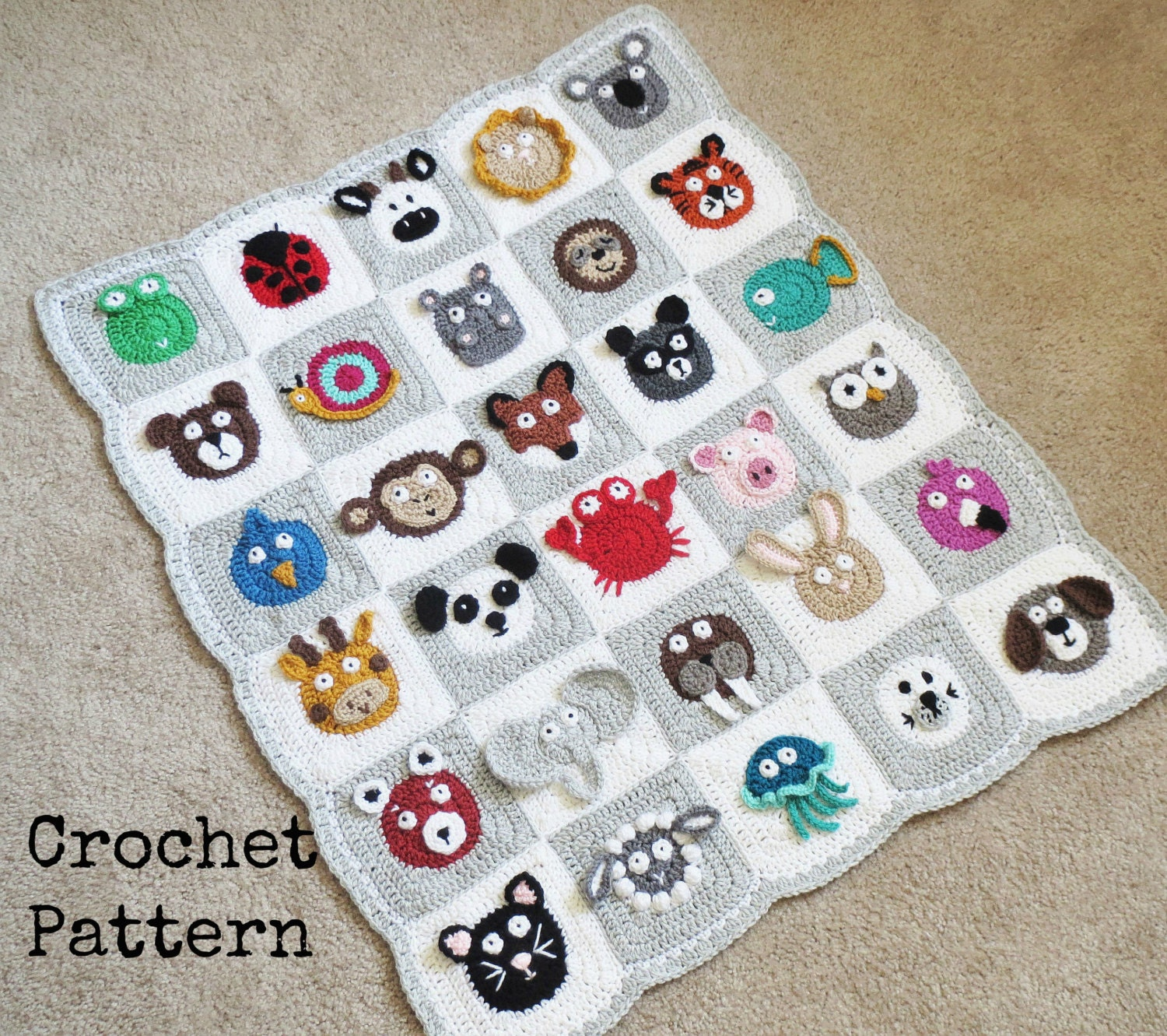 Crochet Baby Blanket Patterns With Animals : BABY BLANKET PATTERN Crochet Pattern Instant Download Pdf