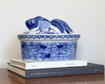 Vintage Chinese Blue White Dish Koi Fish Ceramic Lidded Bowl Asian Chinoiserie Chic