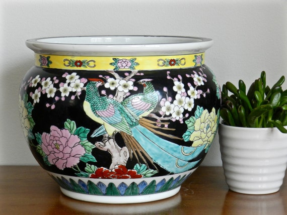 Large asian fishbowl planter famille noire fish bowl cachepot for Chinese fish bowl planter