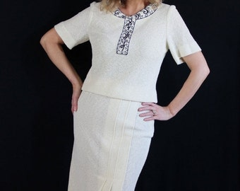 On Sale 60s Wiggle Dress Lady Mendel Mad Men Sweater Knit Separates