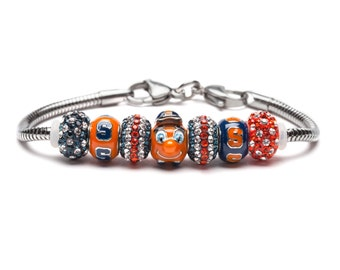 Syracuse University Oranges Bead Charm Bracelet Jewelry