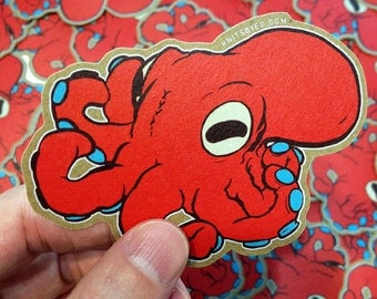 Octopus Sticker LIMITED RUN - Octopus Decal, Art Sticker, Animal Stickers, Laptop Sticker