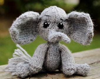 Miniature Knitted Gray Elephant Amigurumi Toy Doll