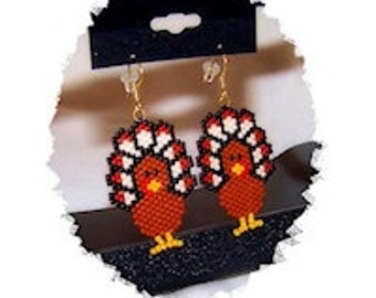 Thanksgiving Day Turkey beaded earrings