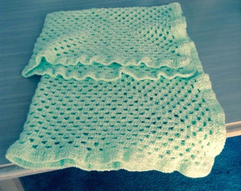 Mint granny baby blanket