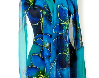 Hand painted silk chiffon scarf/Blue flowers/Painting by hand chiffon scarf/Exotic blue flowers/Long blue scarf/Luxury gift for woman/S01169