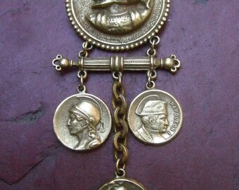 Unique Matte Gilt Metal Dangling Coin Brooch c 1970