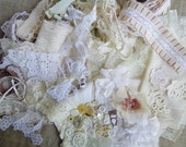 Inspiration Kit Cream and White  Vintage Lace Buttons Doilies Millinery