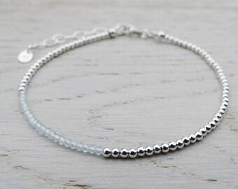 Skinny Silver & Sky Blue Topaz Bracelet - Sterling Silver