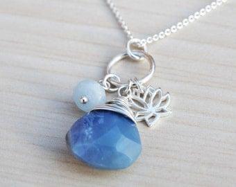 Blue Opal & Lotus Flower Necklace - Sterling Silver