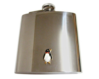 Colored Penguin 6 oz. Stainless Steel Flask