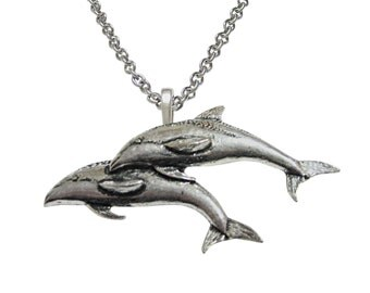 Pair of Dolphins Pendant Necklace