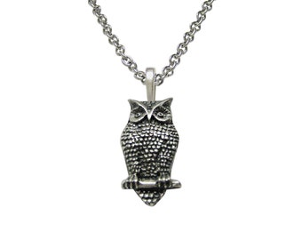 Perched Owl Pendant Necklace