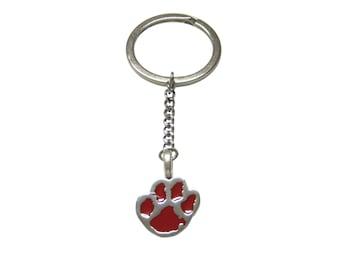 Red Animal Paw Pendant Keychain