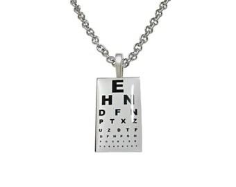 Unbordered Rectangular Optometrist Pendant Necklace