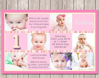 1st First Birthday Photo Collage Personalised Invitations - YOU PRINT