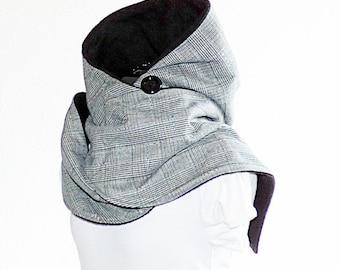 Kapuzenschal (long) gray-plaid fleece