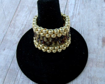 Peyote ring,gold and tortoise seed bead ring