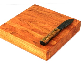 "Butcher Block Cutting Board - Thick Chopping Board - Cherry Hardwood - 10""x10""x2"" - Ready to Ship"