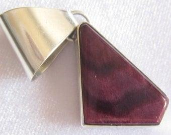 SALE Eunice J. TSO Navajo Artisan Signed Sterling Silver & Purple Sugilite Geometric Pendant with Wide Triangular Bail
