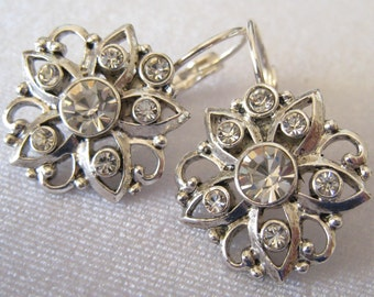 CLEARANCE Rhinestone Vintage Floral Design Drop Earrings Hang from Silver Tone Lever Backs