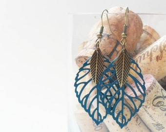 Teal Blue Leaf & Feather Earrings, perfect gift for teens and tweens