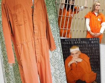 Vintage Distressed Orange Coveralls - Orange is the New Black Prison Jail Inmate Uniform - One Piece Safety Jumpsuit - Halloween Costume