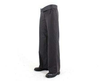 SALE - 80s ANNIE HALL Avant Garde Tailored Minimal Loose Leg Wide Cut Black Suit Trousers / Pants