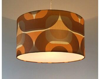 Retro 70s Orange Brown Geometric Wallpaper Lightshade Lampshade  40cm