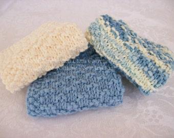 Knit Dish Cloth, Wash Cloths, Spa Cloths, Face Cloth - French Country Kitchen / Bath - Set of Three Hand Knit Cotton Cloths Blue & Soft Ecru