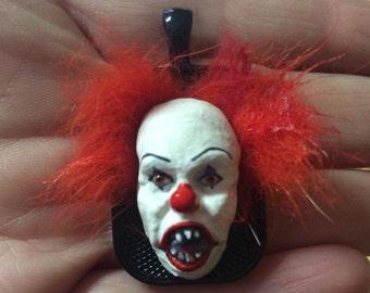 Inspired by Pennywise, Clown, Frankenstein Monster, Wolfman, Horror,Handmade, Movie Monster, Sculpture, Pendant, wearable art