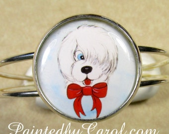 Old English Sheepdog Bracelet, Cartoon Sheepdog Jewelry, Sheepdog Cuff, Sheepdog Gifts, OES Bracelet, Dulux Dog Bracelet, OES Gifts