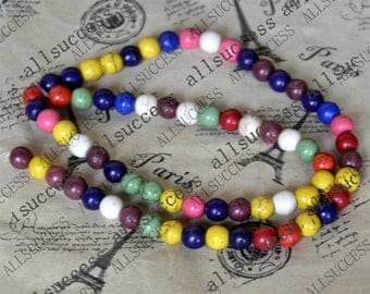 15inch 6mm Single multicolor round tuquoise beads,gemstone cham,turquoise charm,turquoise stone loose strand