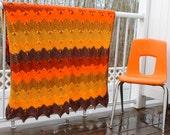 Vintage Blanket Throw Orange Yellow Brown Chevron Blanket Bedding Girls Kids Room Rustic Cabin Decor Vintage Sheet Ski Chalet Bungalow Linen