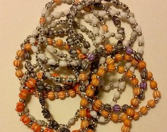 Halloween Craft Lot of 15 bracelets for repurposing, altered art, skulls, bats, and pumpkins