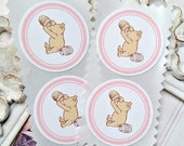 Classic Winnie the Pooh Stickers (12) - Envelope Seals-Baby Girl Stickers-Pooh Birthday-Pooh Baby Shower-Vintage Pooh Party-Favor Sticker