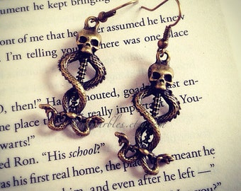 Skull and Snake Charm Earrings. Goth. Halloween. Scary. Creepy Jewelry. Silver. Brass. Vintage Style. Under 10 Gifts. Death. Skull Jewelry