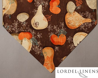 "Fall Country Table Runner, 72"" Table Runner, Fall Gourds and Leaves, Country Table Runner, Home Decor"