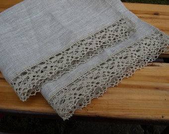 """Linen Guest Towels Set of 2 20 1/2""""x32"""" Natural Light Grey With Lace Wedding Gift"""