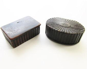 2 Antique Victorian Black Paper Mache Snuff Boxes