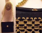 Reserved for Sarah-Gold chain link & black suede shoulder bag