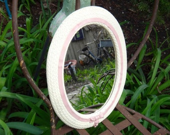 Oval Mirror, Syroco Mirror, Faux Wicker, Pink and White, Girls Bedroom, Girls, Baby Nursery, Baby Girl, Baby Shower, Pink Ribbon Mirror