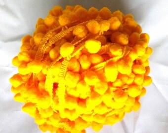 5 Yards - Pom Pom Lace - Yellow Pom Pom Lace - Pom Pom Supply - Cushion Cover - Dress - Quilting
