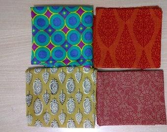 Fat Quarter Bundle of 4 - Indian cotton - Block print Cotton fabric - Quilting Cotton Block printed - pure cotton